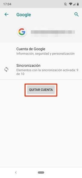 Borrado de la cuenta de Google
