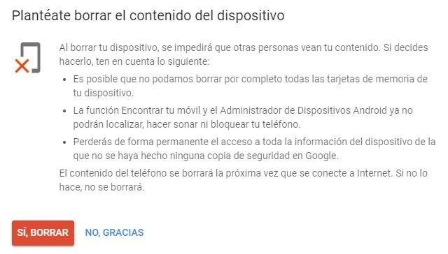 Borrado remoto de los datos de Android