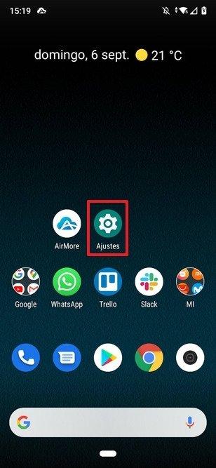 Botón de acceso a los ajustes de Android