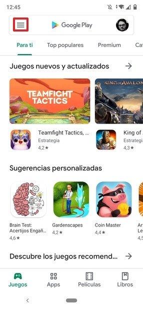 Botón de menú de Google Play Store