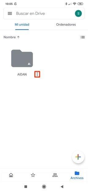 Botón del menú de un elemento de Google Drive