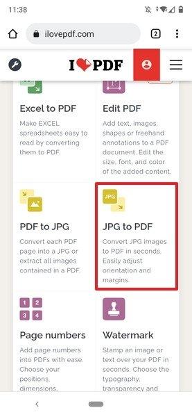 Botón para convertir una imagen en PDF en ILovePDF