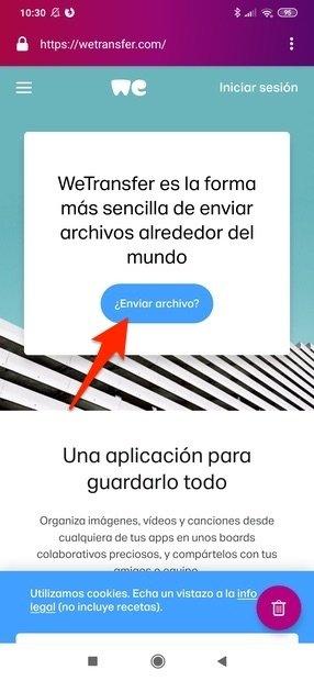 Botón para enviar un archivo por WeTransfer