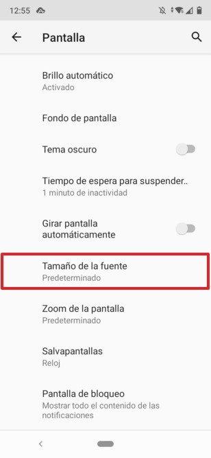 Botón para modificar el tamaño de la fuente en Android