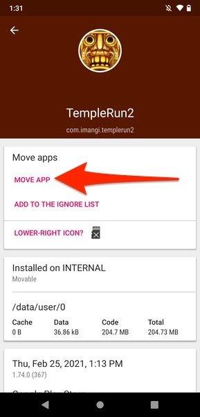 Botón para mover una app a la tarjeta SD
