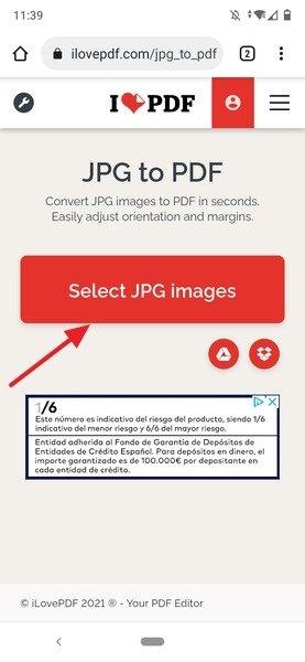 Botón para seleccionar imágenes JPG del teléfono