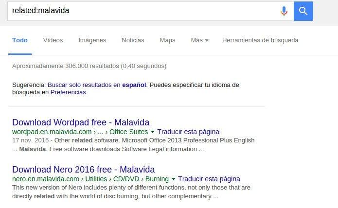 Buscando enlaces relacionados podemos saber que links apuntan a una web
