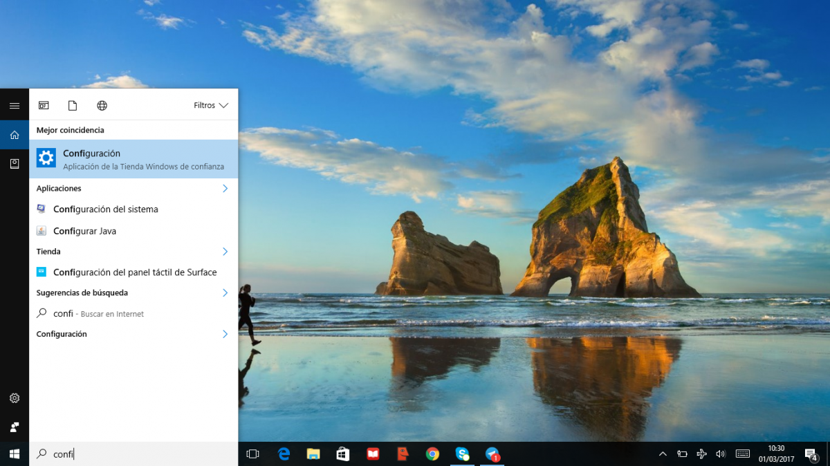 """Buscar """"Configuración"""" en Cortana"""