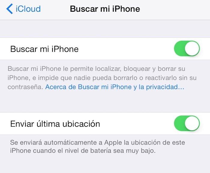 Buscar mi iPhone activado y también el Borrado