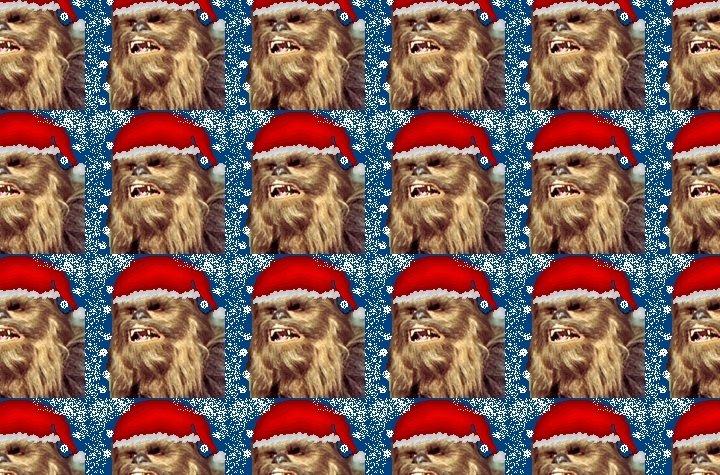 Cabezas de Chewbacca con gorros de Papá Noel y la canción navideña por excelencia