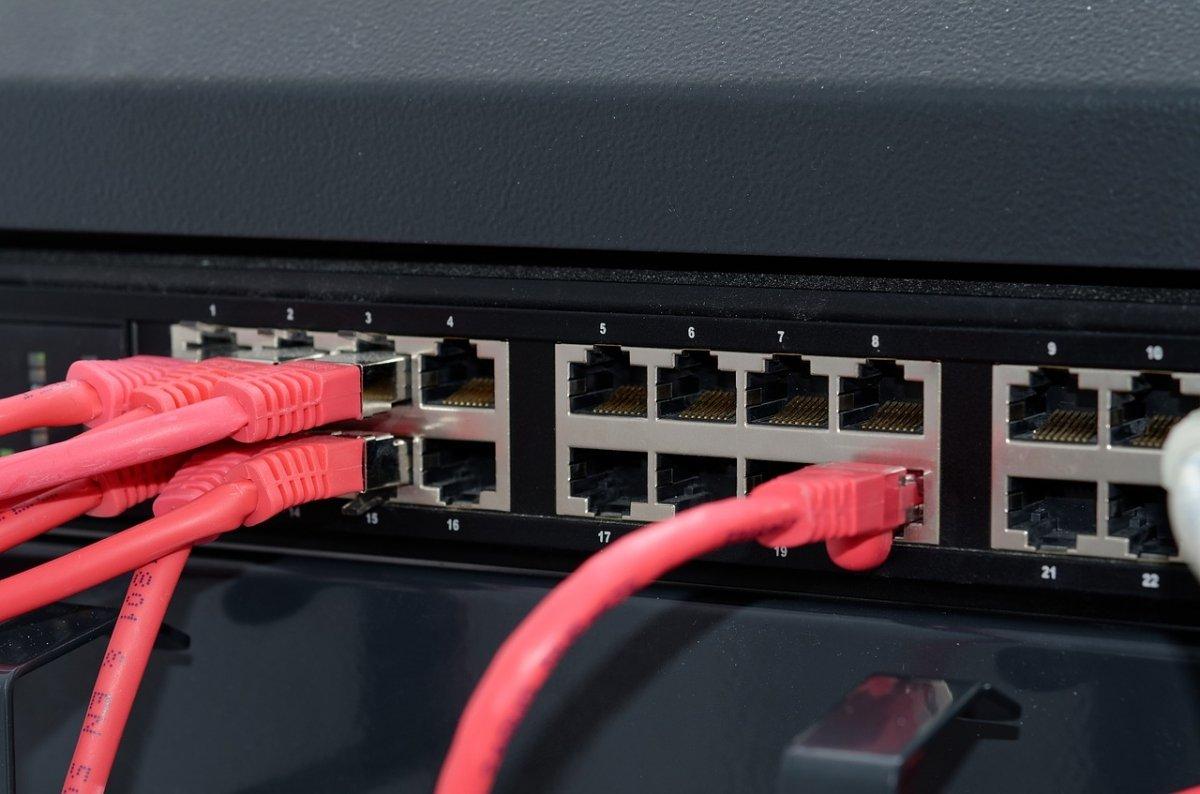 Cables de red en un servidor