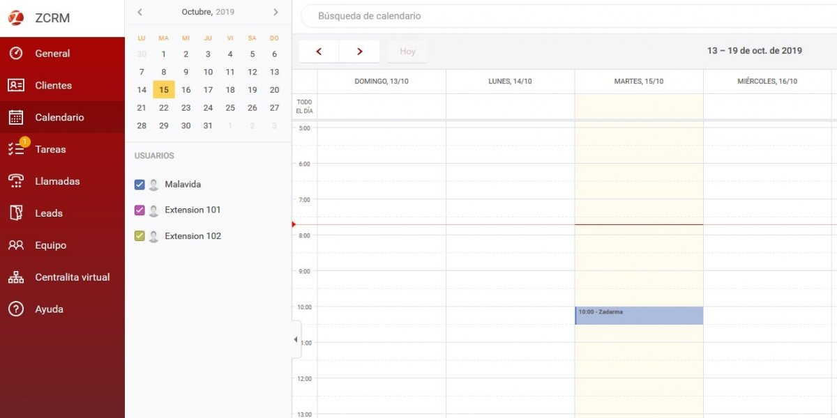 Calendario de tareas de Zadarma CRM