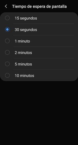Cambio del tiempo de espera de pantalla en Android