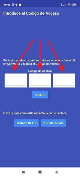 Campos para la introducción del código de acceso en el dispositivo controlador