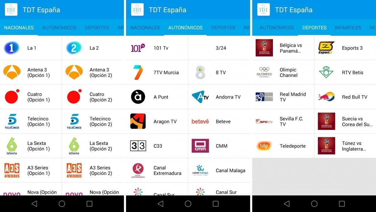 Canales disponibles en TDT España