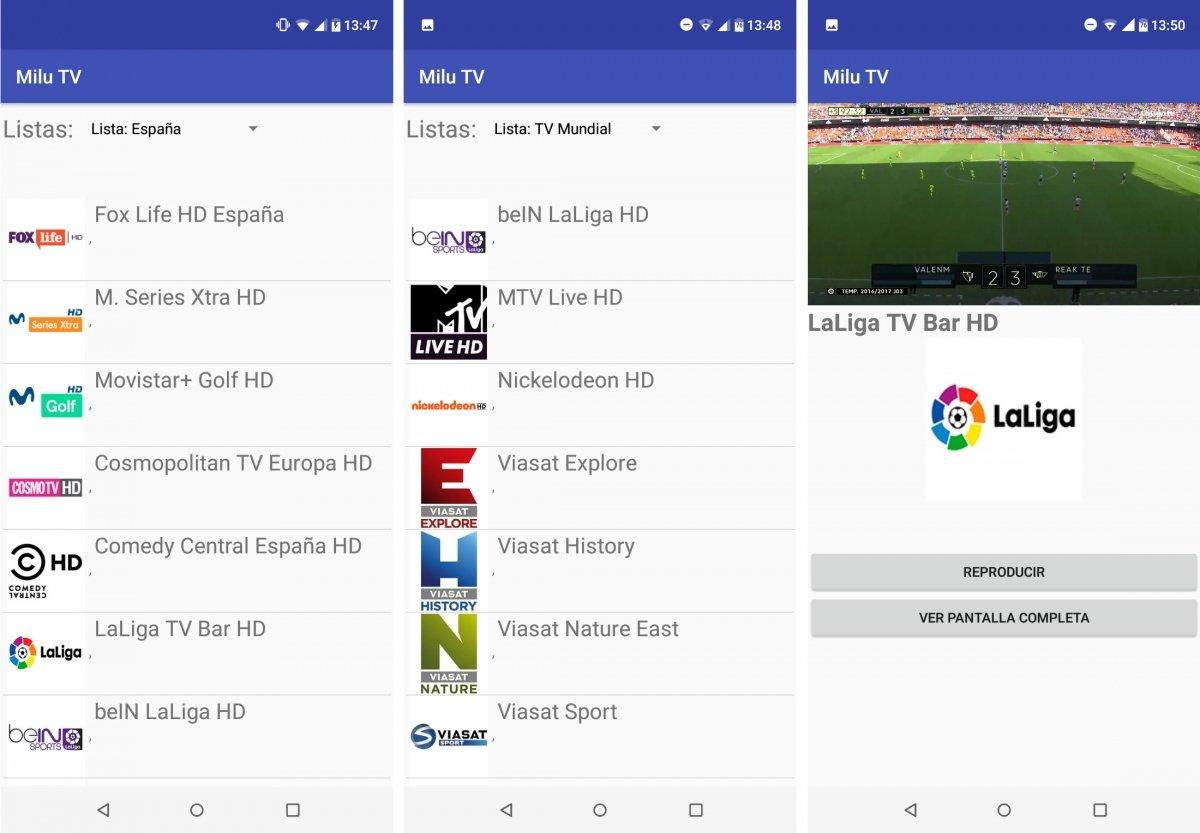 Canales y fútbol en Milu TV