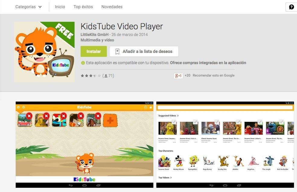 Captura de pantalla de la app KidsTube Videoplayer