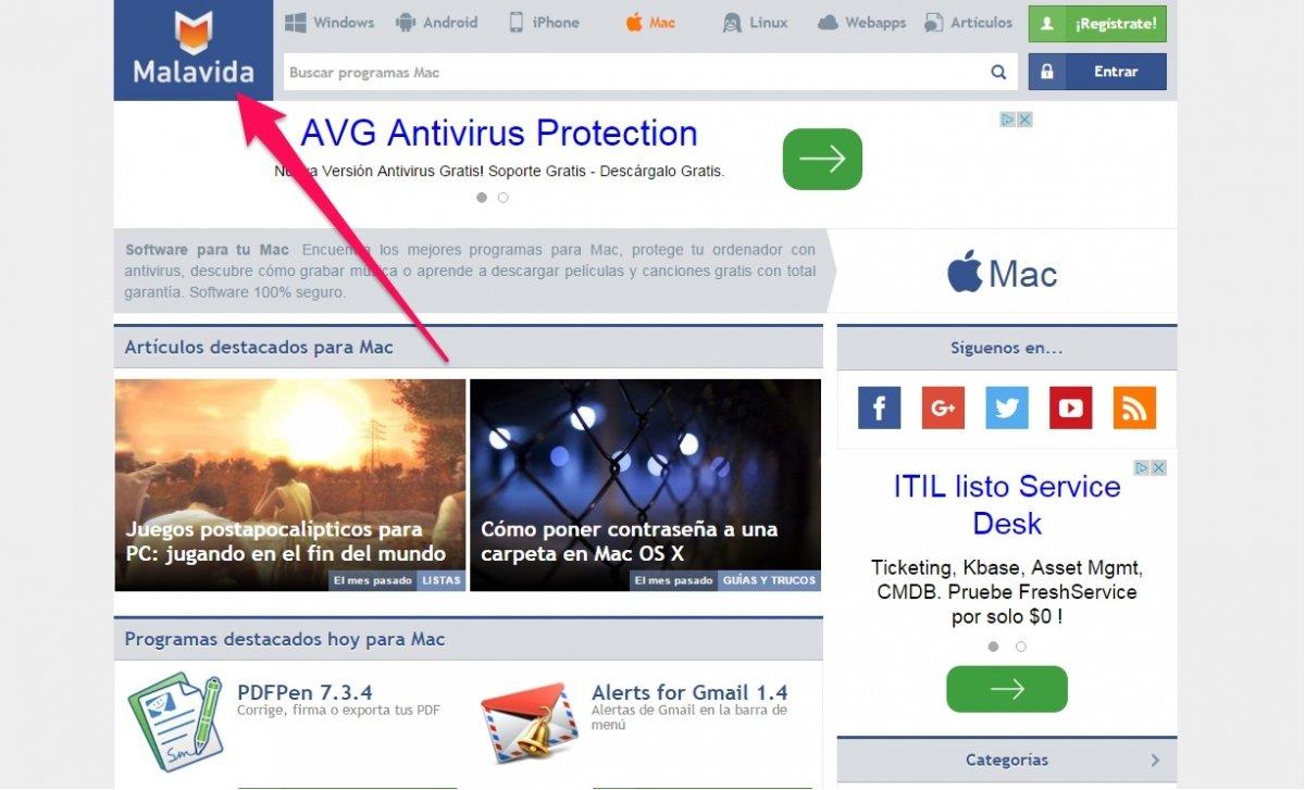 Captura de pantalla de la sección Mac de Malavida con Skitch