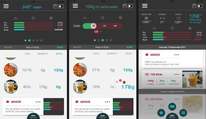 Capturas de la app para móviles de DietSensor donde se recoge la información del escáner