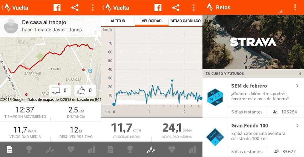 Capturas de Strava para Android: mapa de ruta, indicadores y retos
