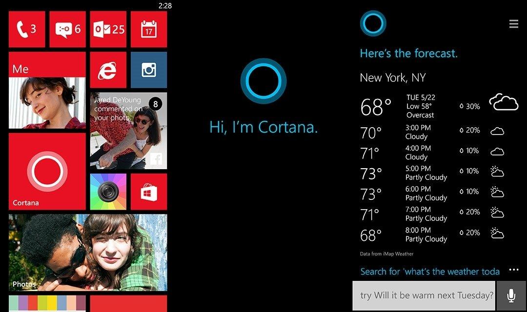 Capturas de pantalla de Cortana en la home de WP y en funcionamiento