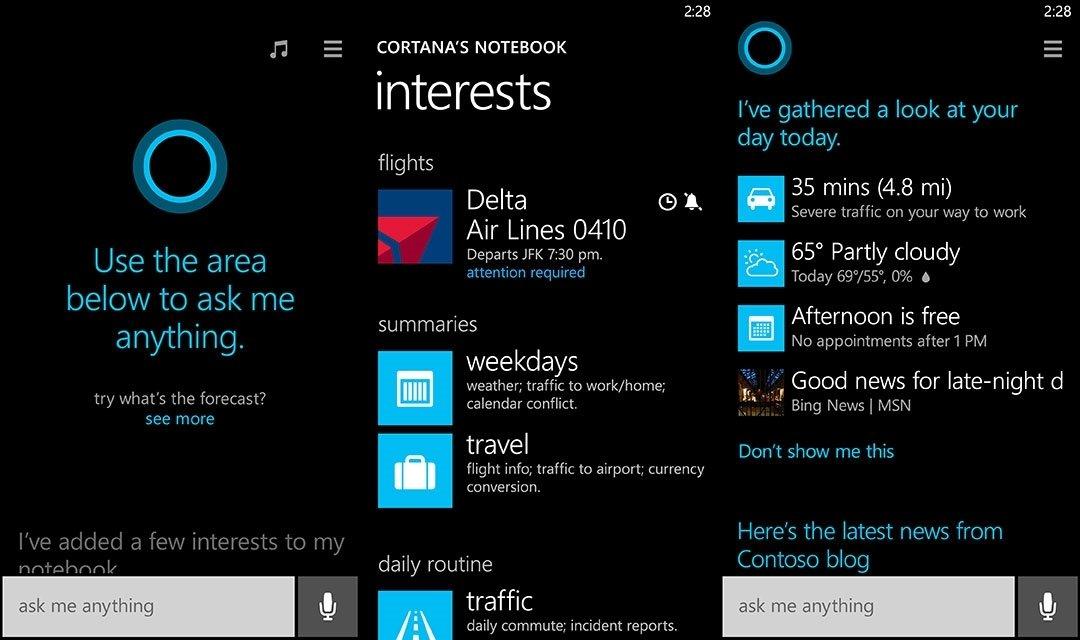 Capturas de pantalla de Cortana en un funcionamiento más avanzado