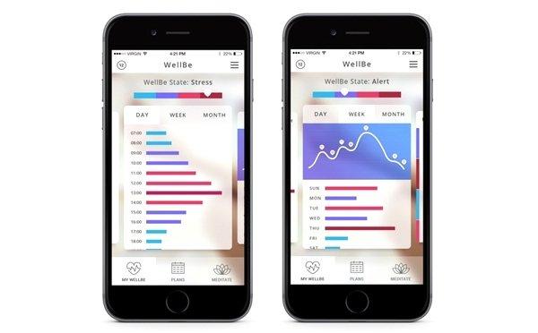 Capturas de pantalla de la app móvil WellBe