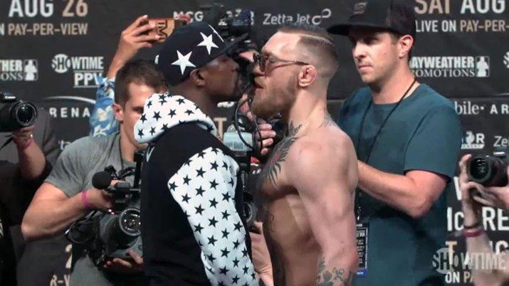 Cara a cara entre McGregor y Mayweather
