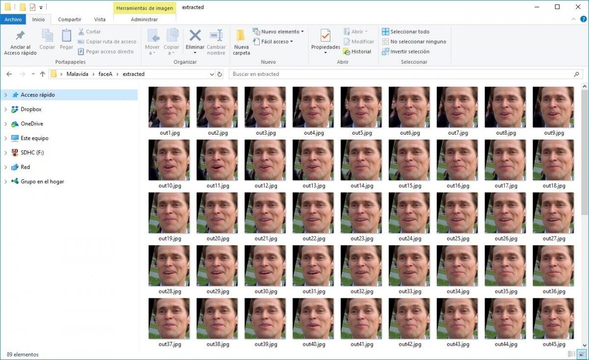 Carpeta con imágenes extraídas de un vídeo