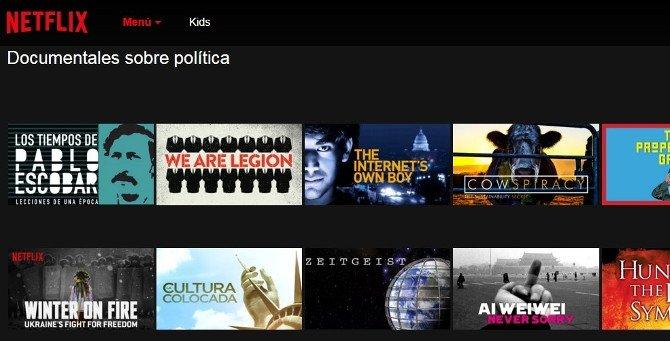Categoría de Netflix de Documentales de política