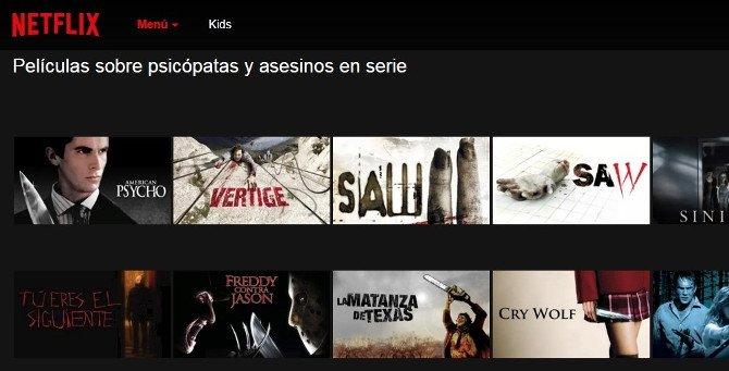 """Categorías de """"psicópatas y asesinos"""" dentro de Acción"""