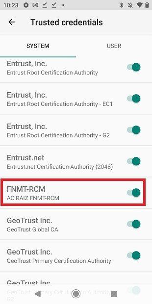 Certificado raíz en Android