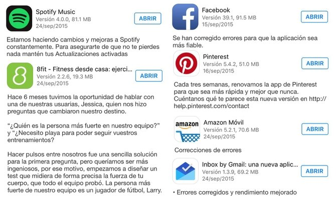 Changelogs de varias apps como Spotify, Facebook o Pinterest