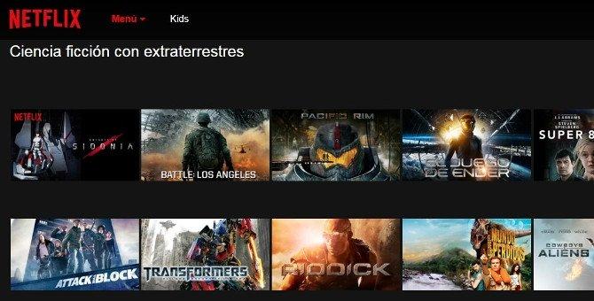 Cine de extraterrestres en categoría de ciencia ficción de Netflix