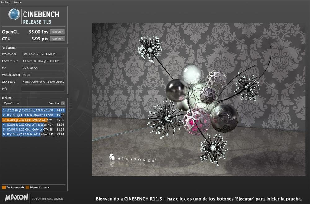 Cinebench Macbook Retina