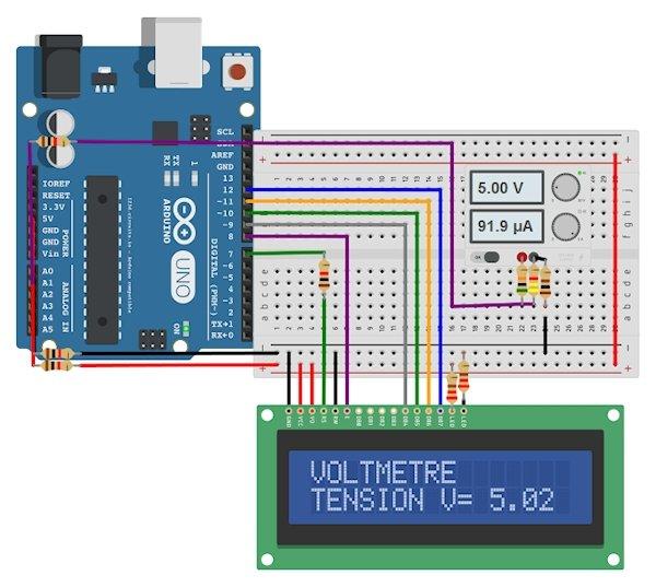 Circuito en el que se conecta Arduino a un display LCD y un sistema de alimentación CC