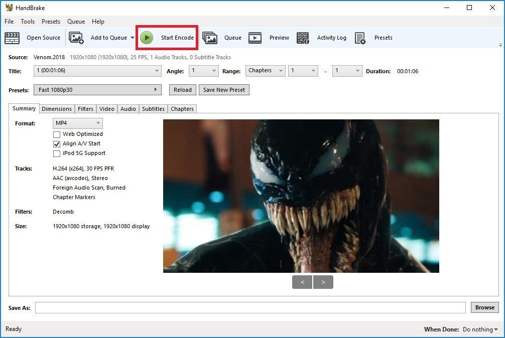 Clicando en START el disco se convertirá en un archivo MP4