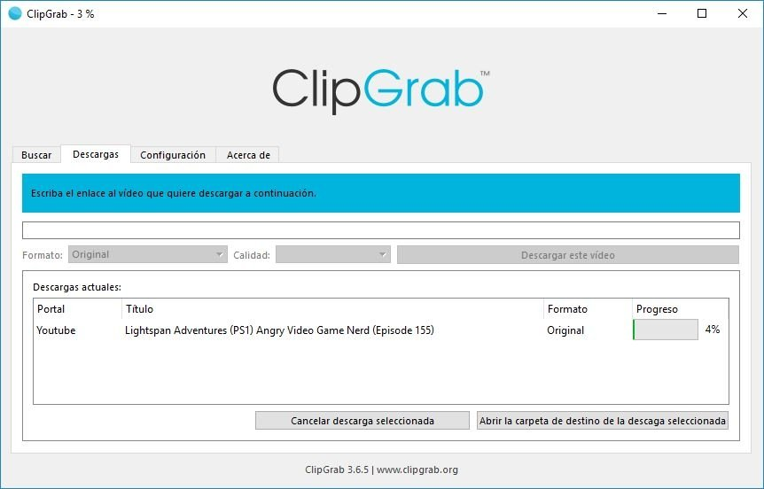 Clipgrab descargando un archivo de YouTube