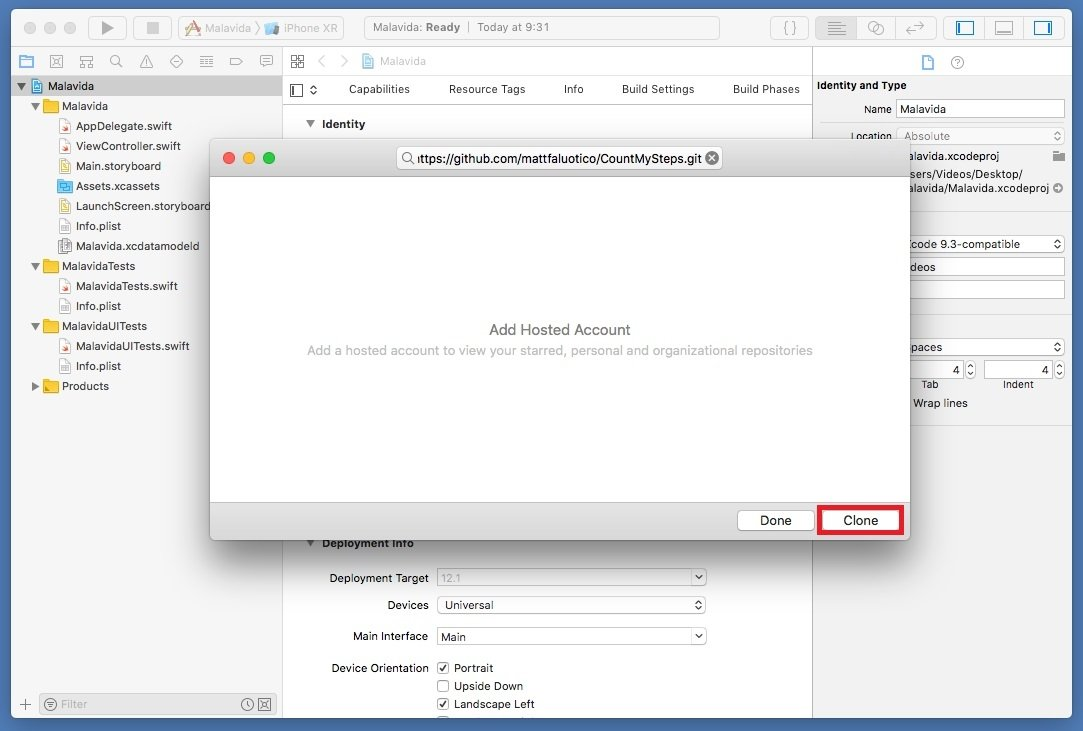 Clonación de un proyecto de GitHub en Xcode
