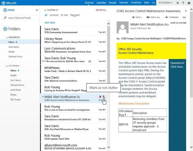 Clutter, el organizador de correo electrónico de Office 365 - imagen 2