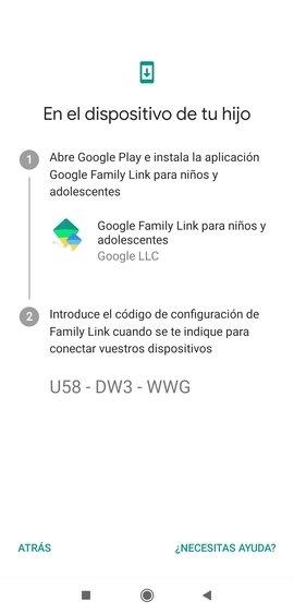 Código de configuración de Family Link