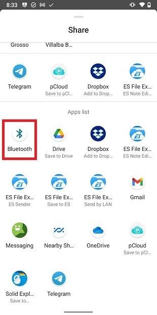 Compartir contactos por Bluetooth