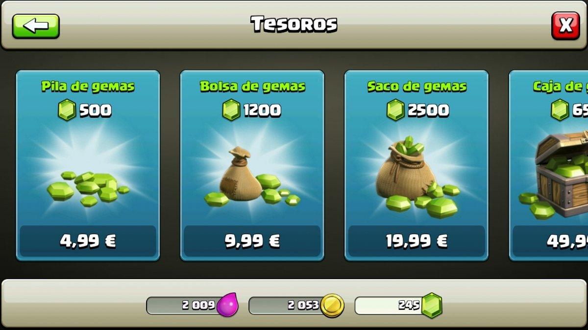Comprar gemas en el Clash of Clans