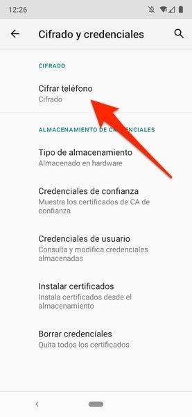 Comprobación del cifrado en Android 11