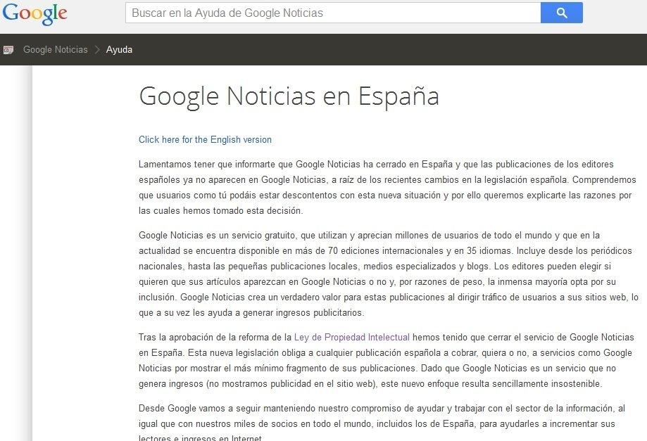 Comunicado del cierre de Google
