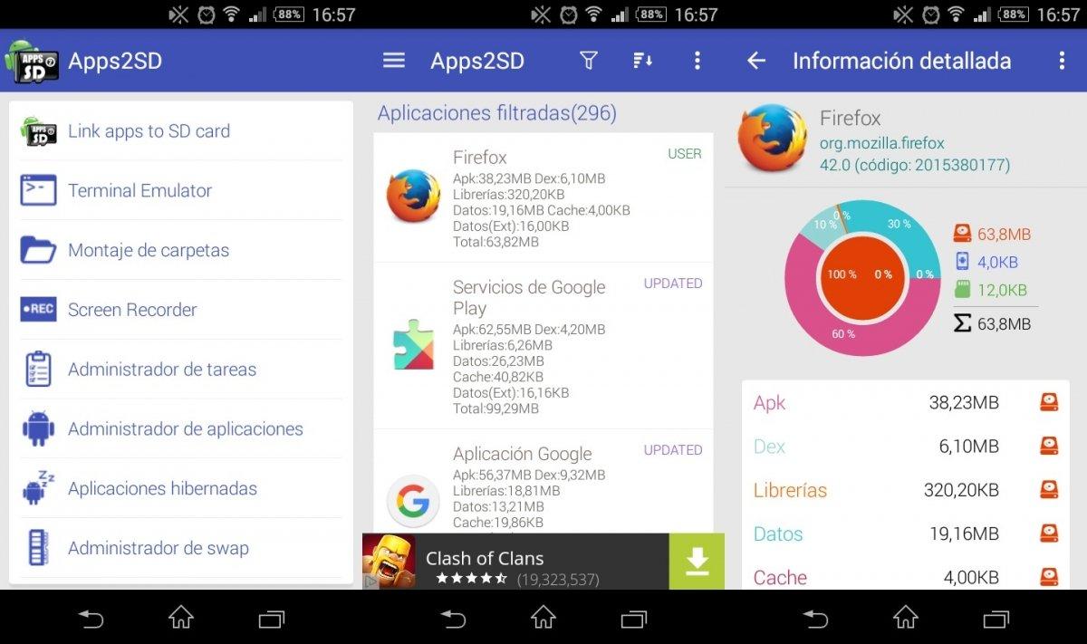 Con Apps2SD se puede crear un enlace simbólico que mueve a la SD todos los detalles de la app