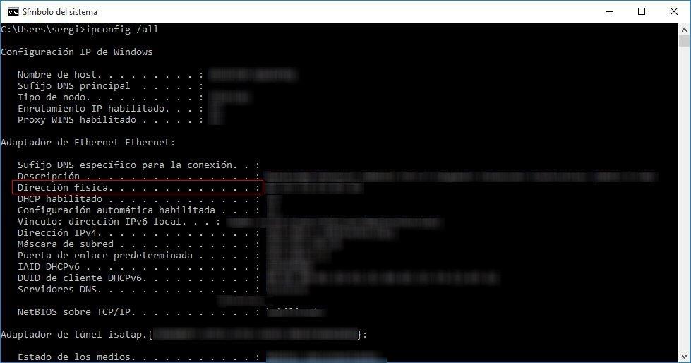 Con un comando se puede averiguar la MAC en Windows