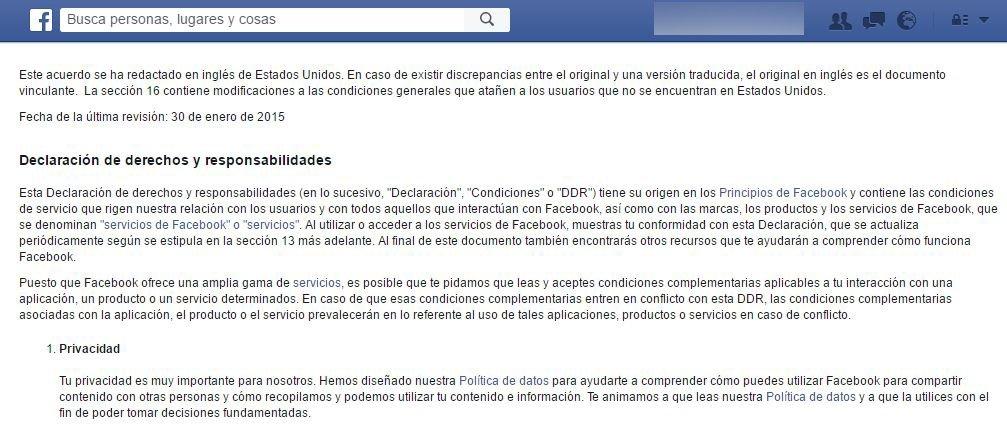Condiciones de servicio de Facebook