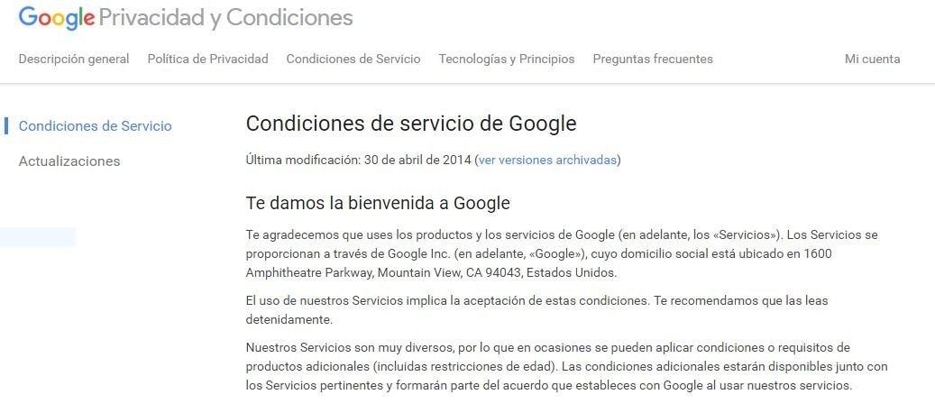 Condiciones de servicio de Google