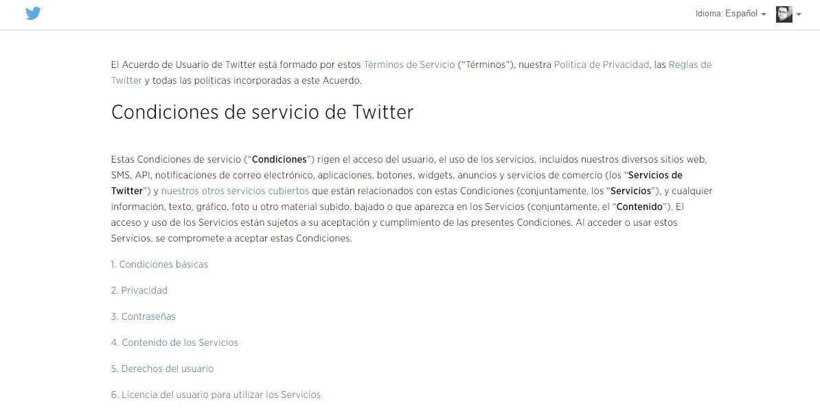 Condiciones de servicio de Twitter